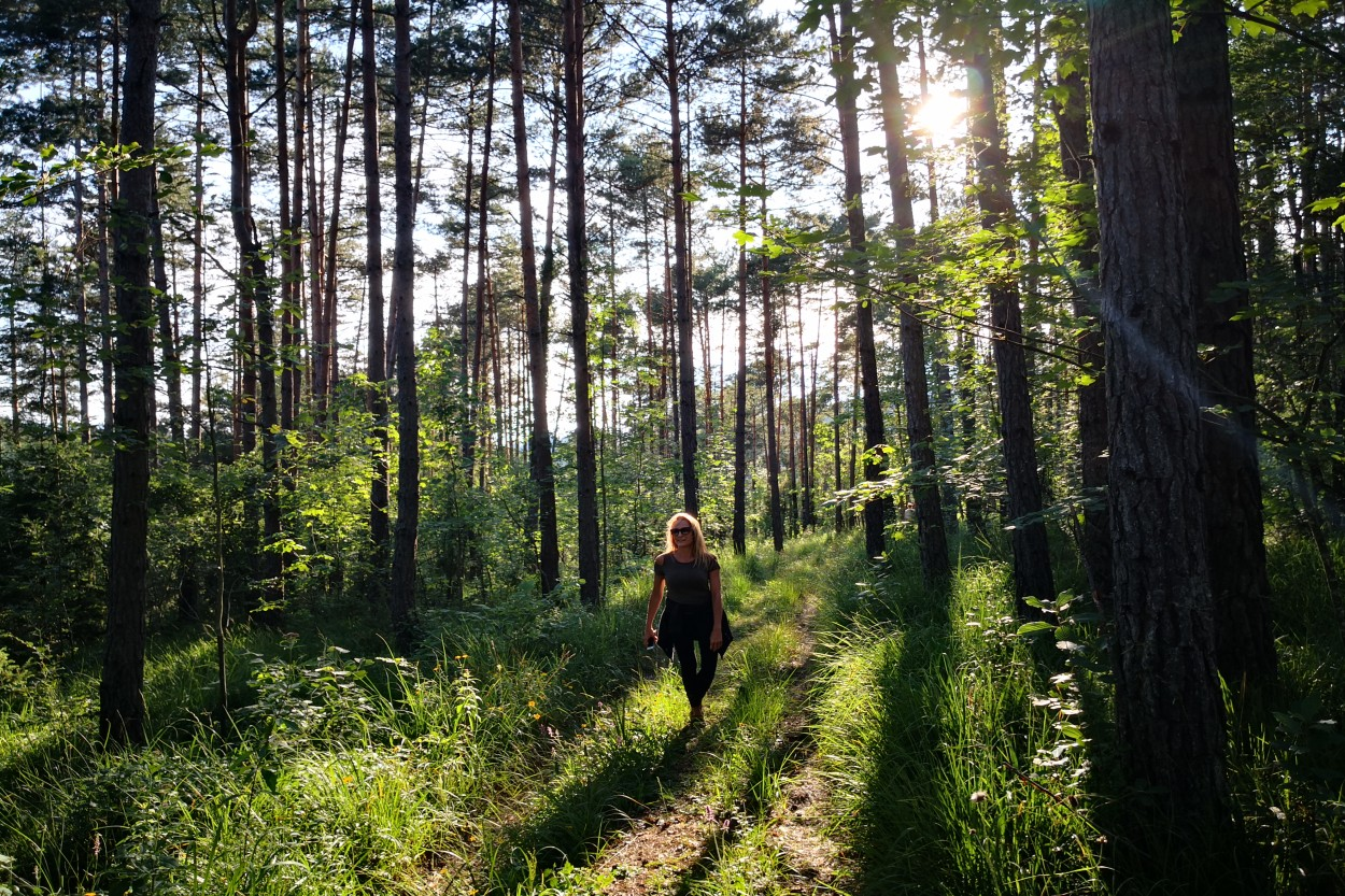 Woman walking in the Slovenia forest