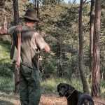 A hunter and his dog in the woods pointing